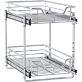 "Household Essentials C21221-1 Glidez 2-Tier Sliding Cabinet Organizer, 11.5"" Wide, Chrome"