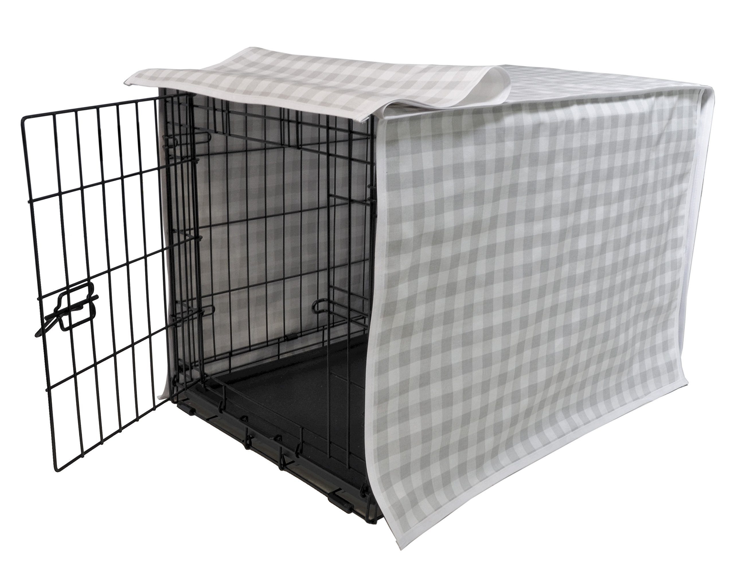 Puristica Designer Plaid Dog Crate Cover - Fits Single or Double Door Wire Kennel (Grey/White Plaid, Large/36)