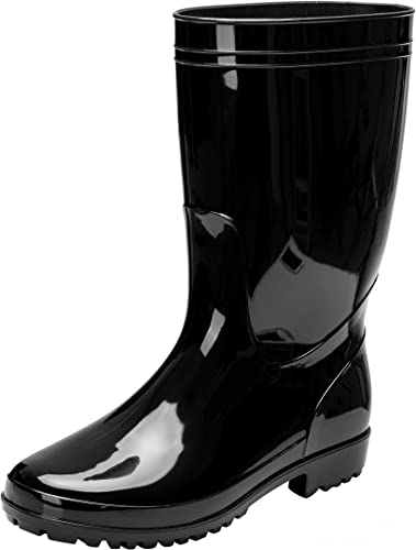 Mens Rubber sole Waterproof Shoes Round Toe Motorcycle Mid-calf Rain Boots new