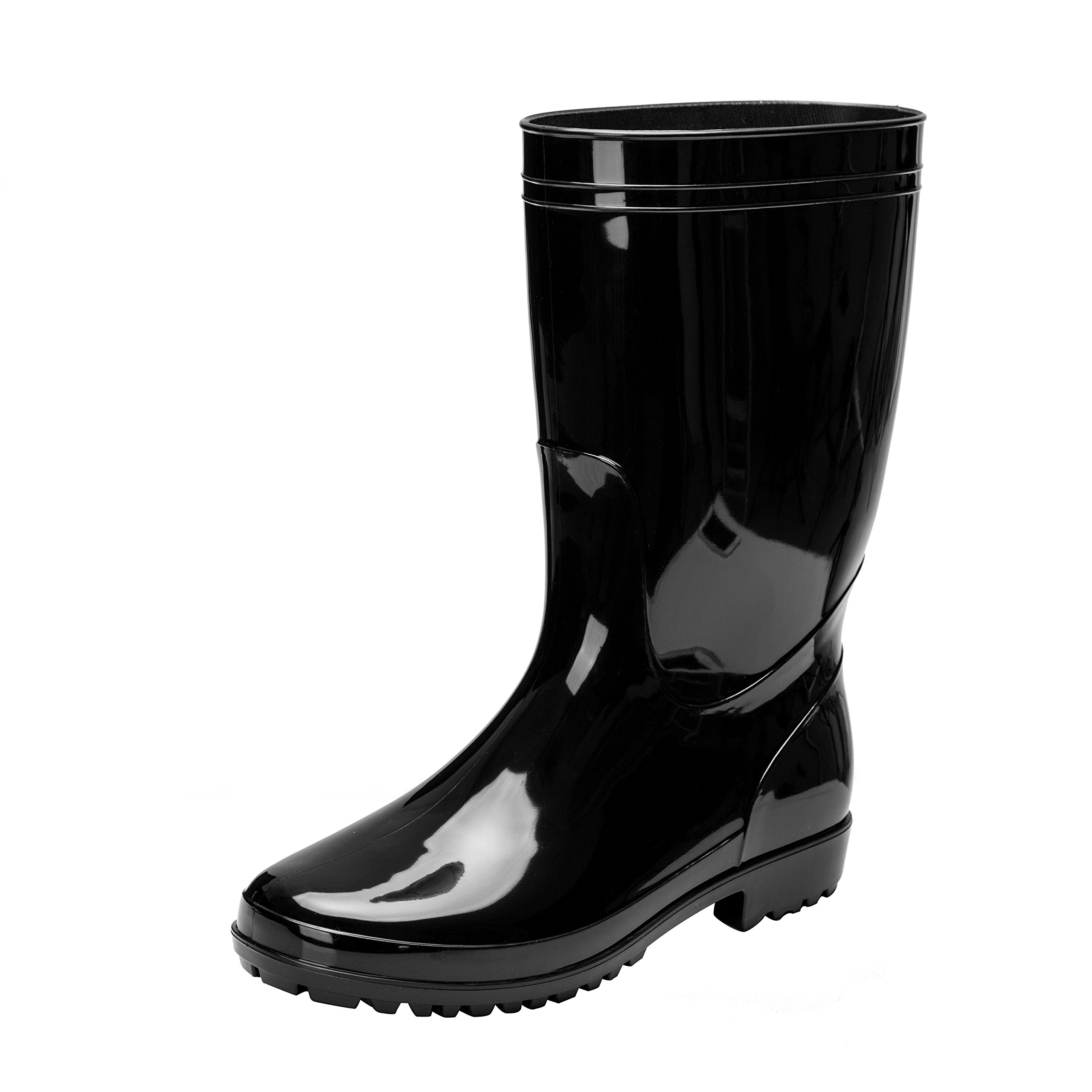 Comwarm Men Waterproof Snow Rain Boots Anti-Slip PVC Black Adult Outdoor Work Rain Shoes, Size 10.5