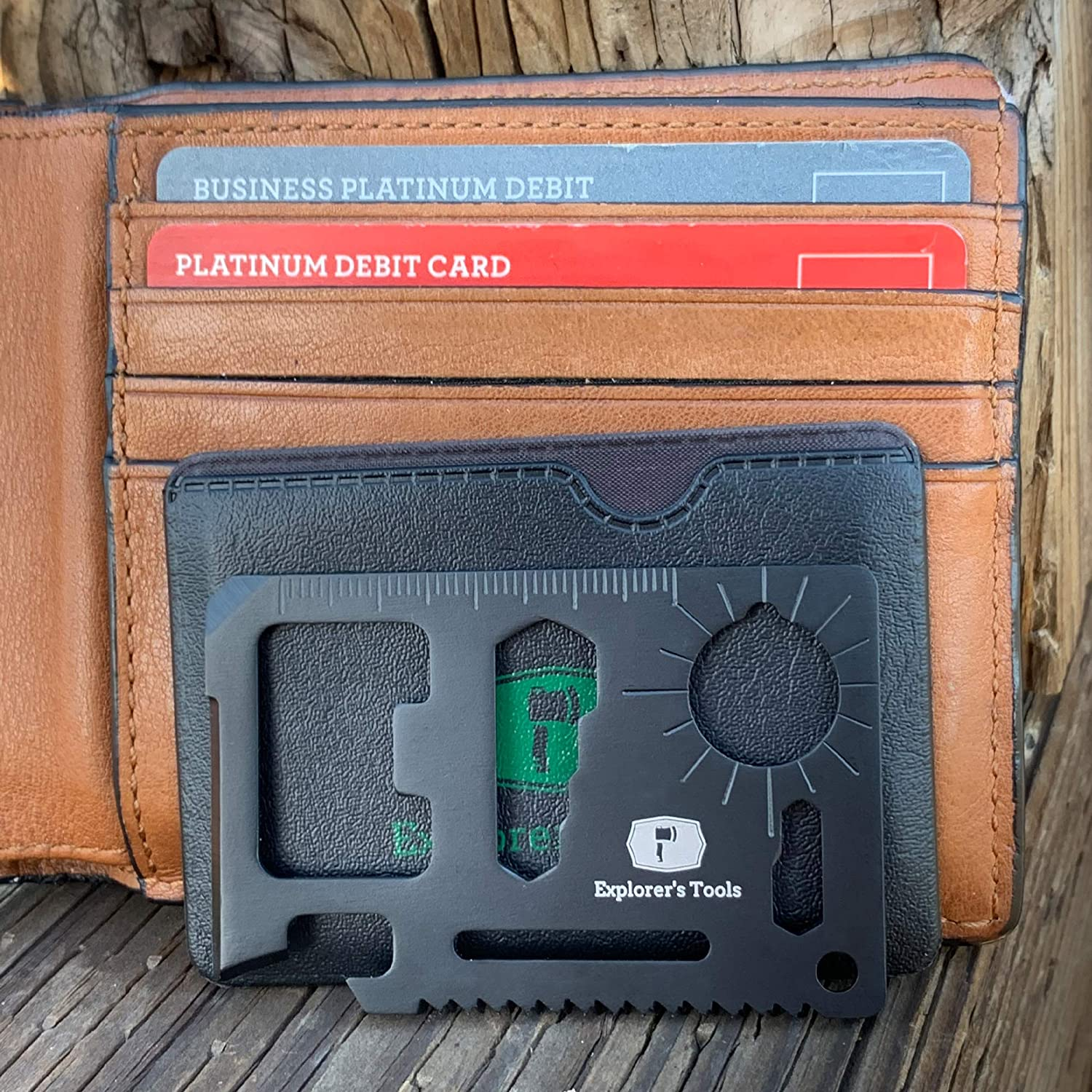 Boyfriend//Pocket Wallet Multitool in Steel Dad 11 in 1 Credit Card Survival Tool /& Beer Bottle Opener by Explorer/'s Tools with Protective Sleeve  Perfect Gift for Men Husband Father DIY Handyman