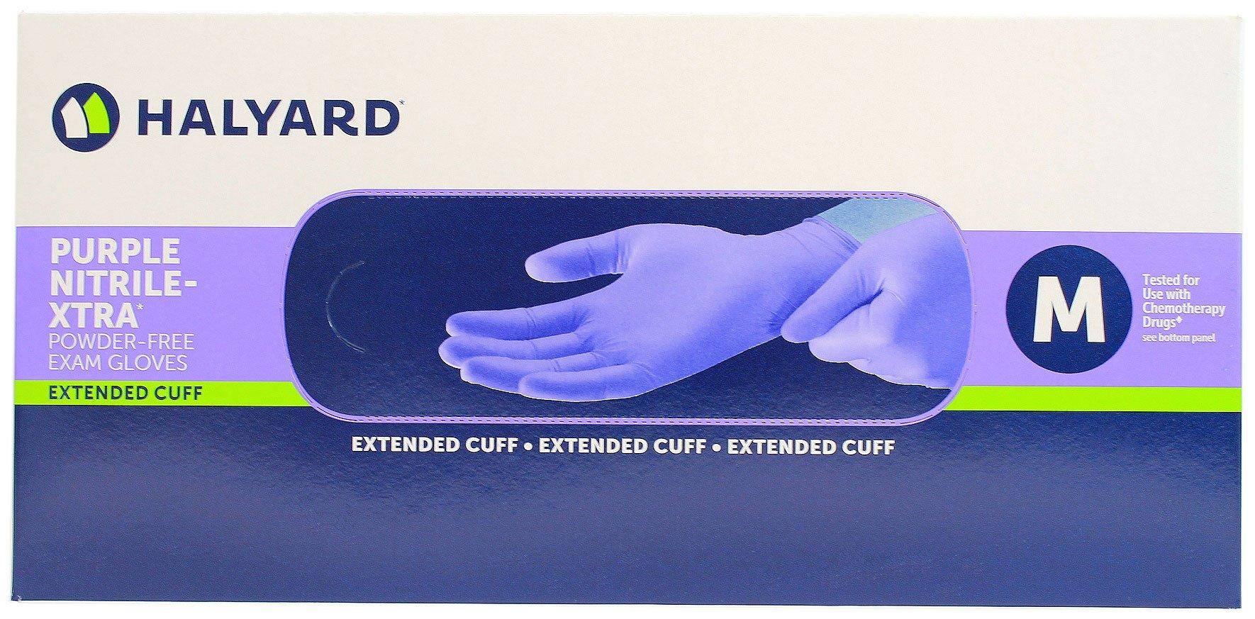 Haylard Health Purple Nitrile XTRA Powder Free Extended Cuff Exam Glove, Medium (50 Per Box)
