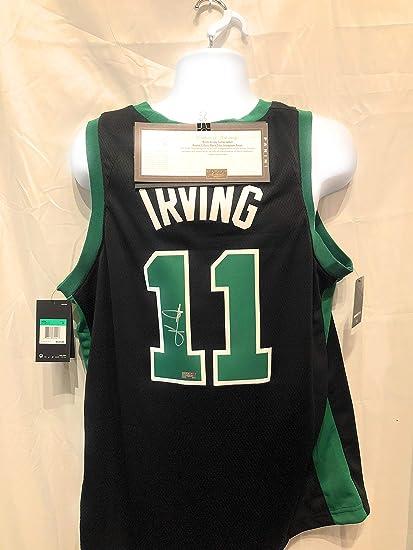 0531b200742 ... spain kyrie irving boston celtics signed autograph black nike swingman  jersey panini authentic certified c1af3 71bbf