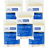 LINE2design Triangular Bandage First Aid Bandage Fracture Fixation Emergency 5Pk