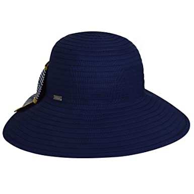 f1f9f4e2131fb Betmar Women Malta Ribbon Wide Brim Hat Navy One Size Fits Most