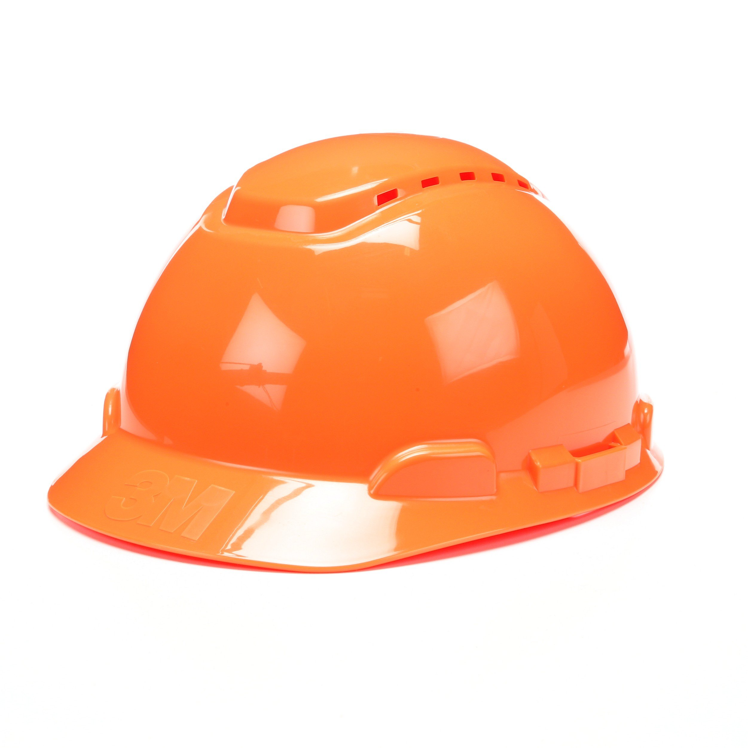 3M Hard Hat H-706V-UV, Orange, 4-Point Ratchet Suspension, Vented, with Uvicator