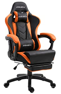 Dowinx Gaming Chair Ergonomic Racing Style Recliner with Massage Lumbar Support, Office Armchair for Computer PU Leather E-Sports Gamer Chairs with Retractable Footrest (Black&Orange)