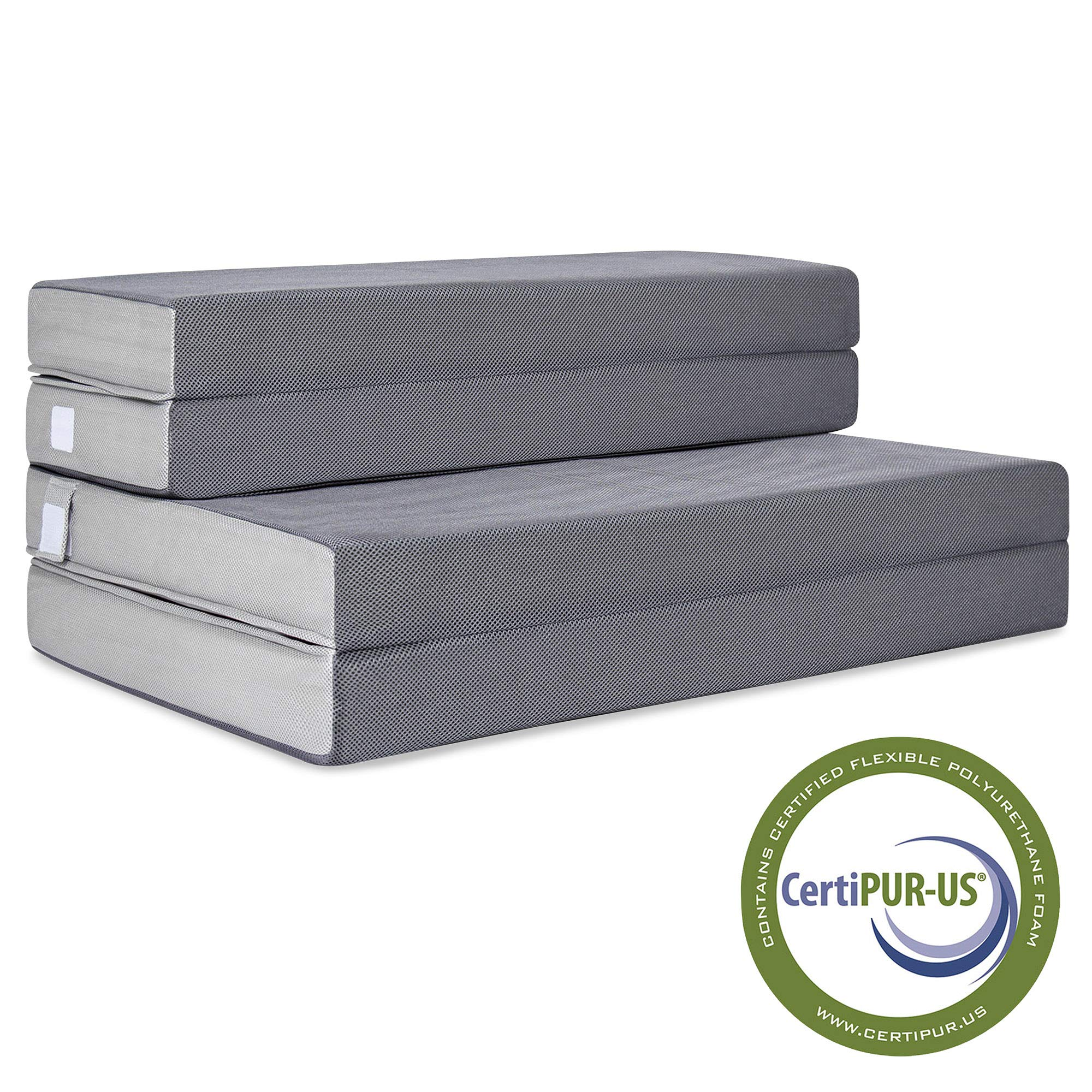Best Choice Products 4in Thick Folding Portable Full Mattress Topper w/ High-Density Foam, Washable Cover by Best Choice Products