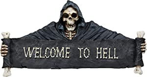 """Ebros Large Grim Reaper Skeleton Opening Scroll Sign Of Bones Saying""""Welcome To Hell"""" Wall Decor 17.5""""Long Halloween Night Reaper Harvester of Souls 3D Hanging Art Plaque Sculpture"""