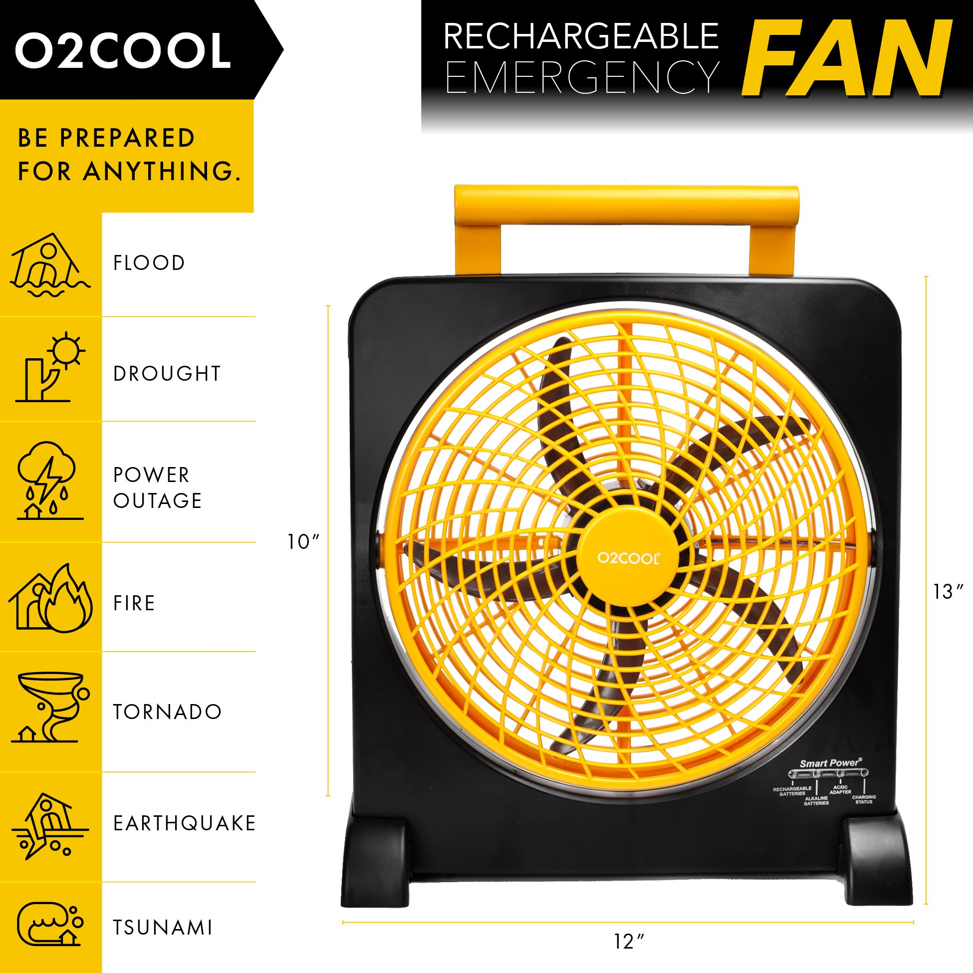 """O2COOL 10"""" Battery Operated Fan - Portable Smart Power Fan with AC Adapter & USB Charging Port for Emergencies, Camping & Travel Use (Orange) by O2COOL (Image #2)"""