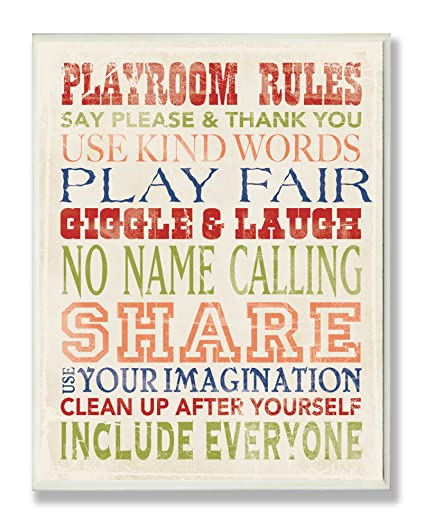 Amazon the kids room by stupell playroom rules in four colors the kids room by stupell playroom rules in four colors rectangle wall plaque 11 x solutioingenieria Choice Image