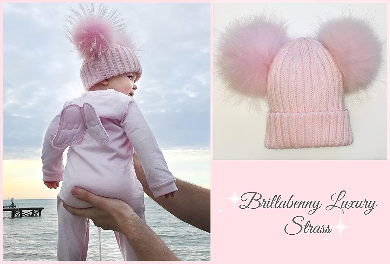 BrillaBenny Cappello PON PON Doppio Staccabile Vera Pelliccia Rosa Pink 1-4  Anni Bimba Cappellino ingrandisci 5bb8d55c3908