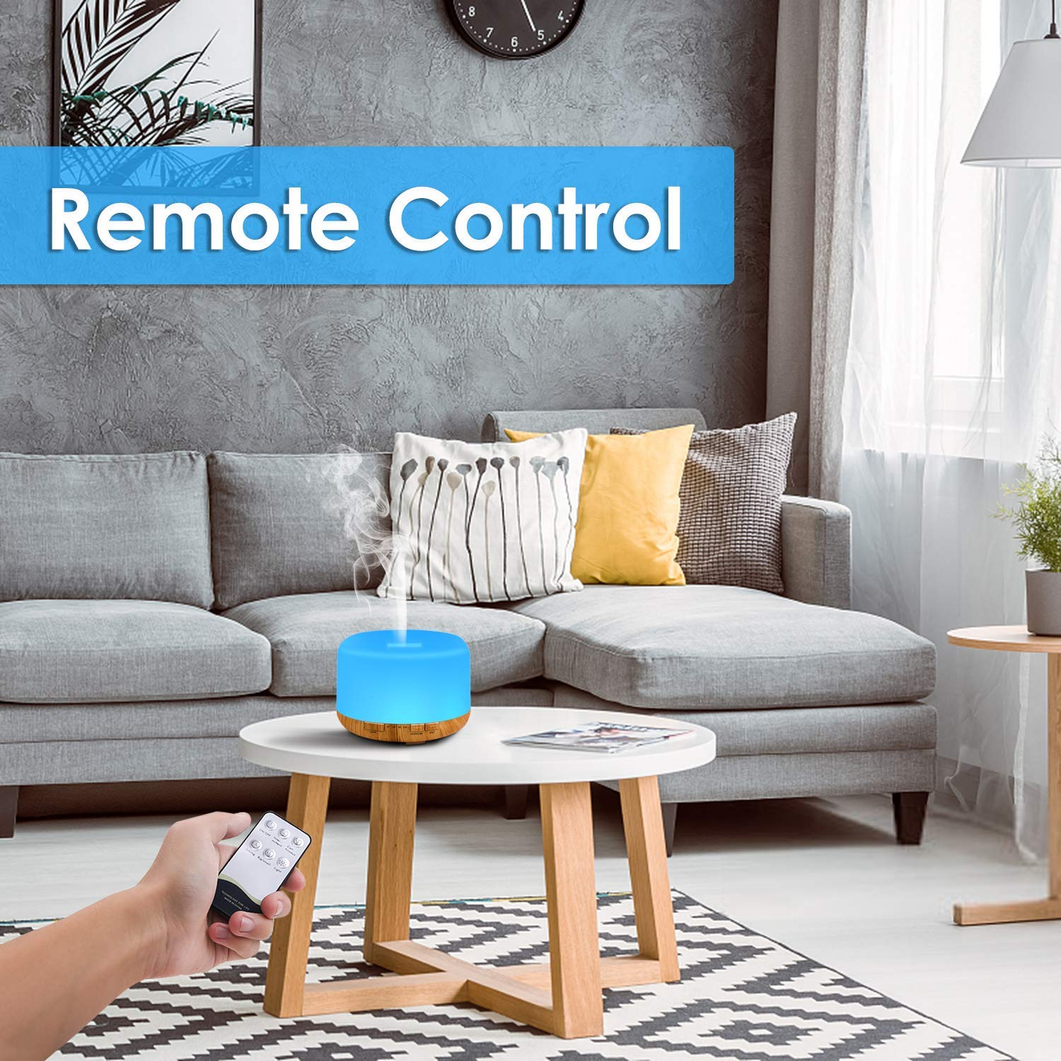 RENWER Essential Oil Diffuser, 500ml Remote Control Diffusers for Essential oils, Ultrasonic Humidifier, Aromatherapy Diffuser with 7 Color LED Lights & Waterless Auto-Off : Beauty