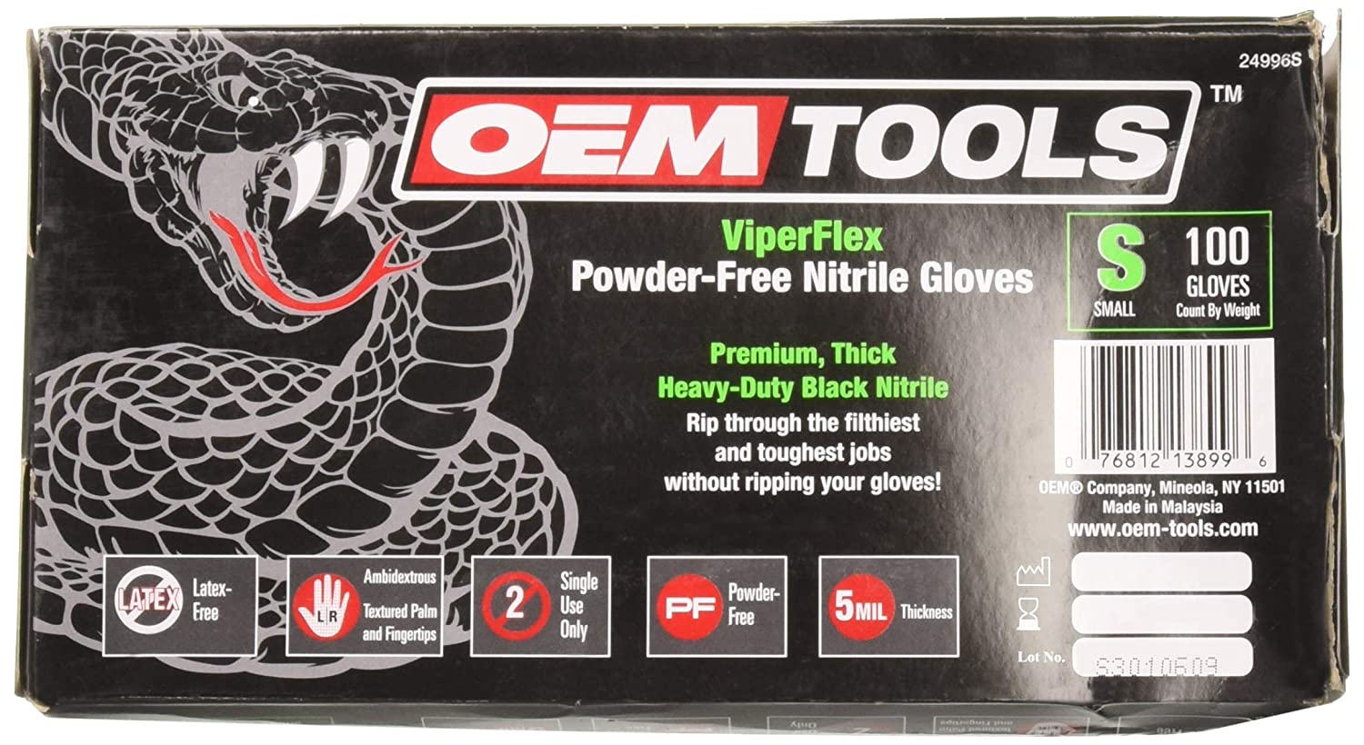 OEMTOOLS 24996S Viper Flex Powder-Free Nitrile Gloves Occupational