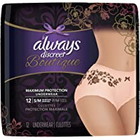 12 Count (1 Package) Small/Medium, Always Discreet Incontinence Underwear for Women, Maximum Absorbency, Peach