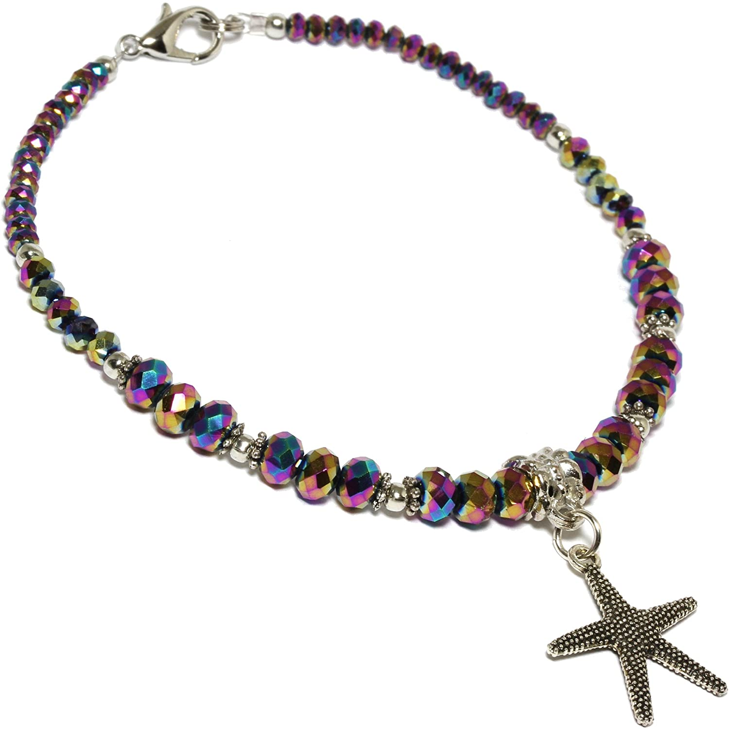 "AnsonsImages 9.5"" Inches Anklet Bracelet Crystal Cut Beads Starfish Purple Aura Borealis"
