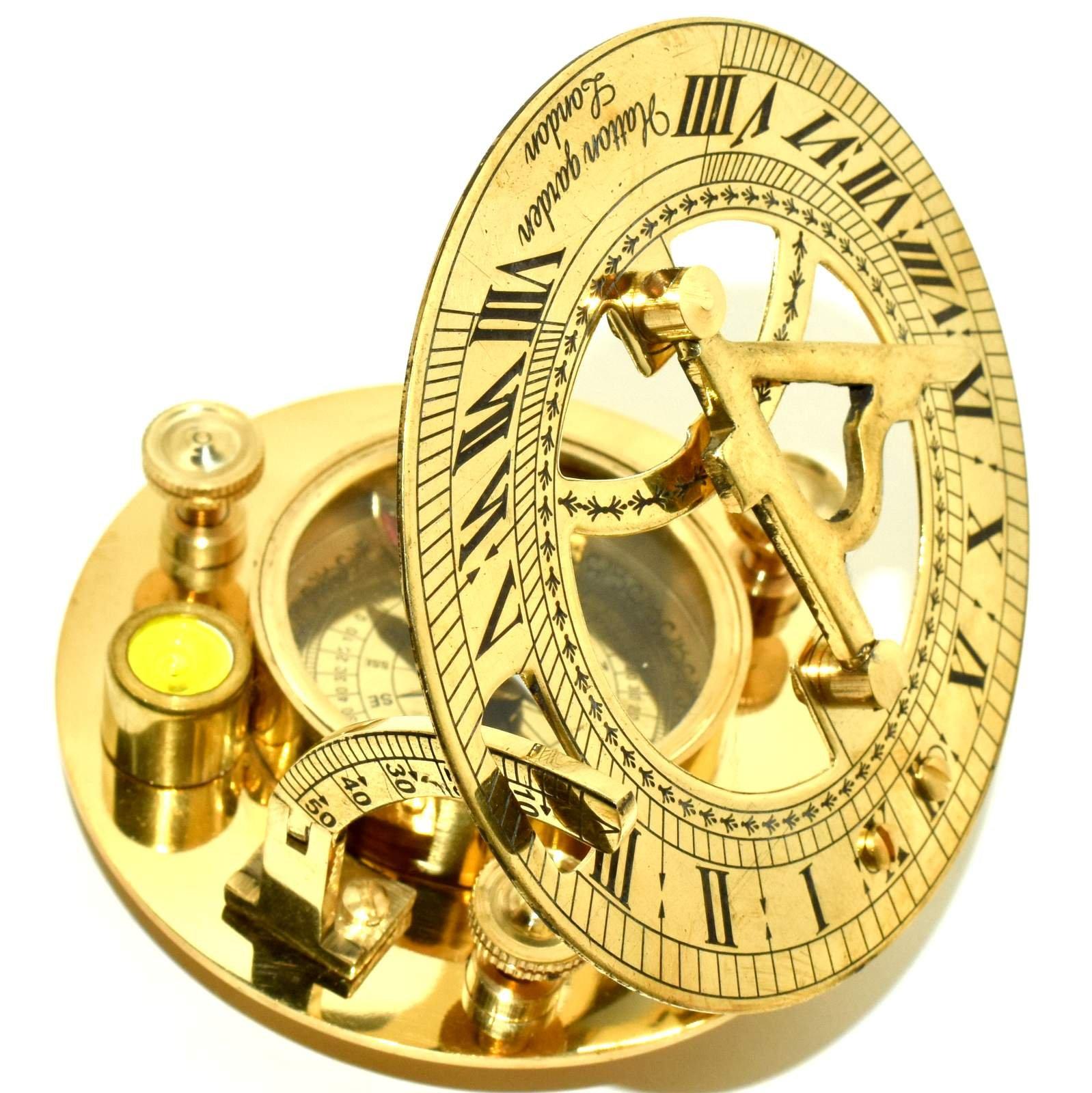 Premium Quality Nautical Antique Brass Sundial Compass w/ Spirit Level 2 Pieces