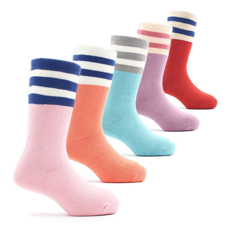 Big Girls Thick Cotton Socks Kids Winter Warm Crew Seamless Socks 5 Pack 8T/9T/10T