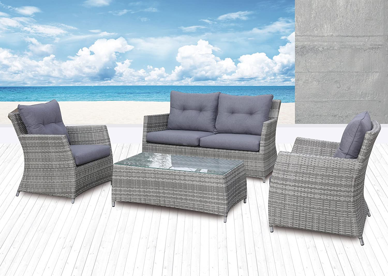 Sitzgruppe Kiel Gartengarnitur Lounge Grau Polyrattan Komplettset