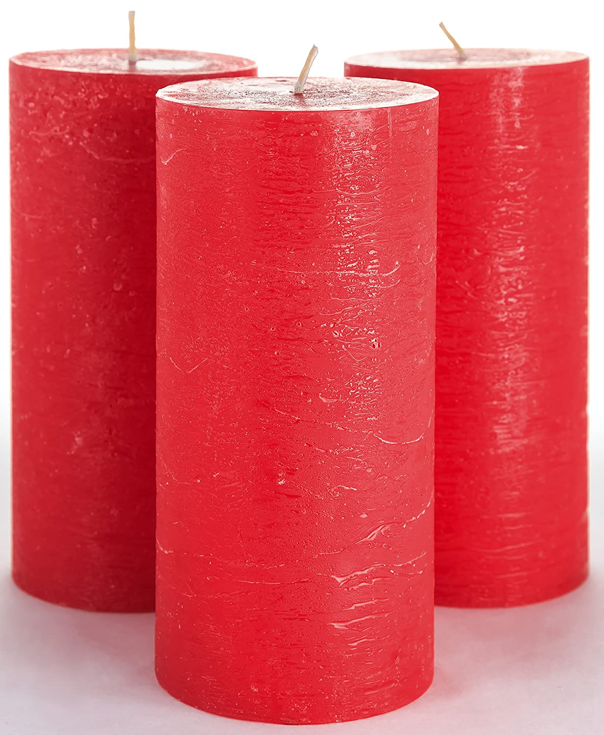"Melt Candle Company Set of 3 Red Pillar Candles 3"" x 6"" Unscented for Weddings Home Decoration Church Restaurant Spa Dripless Smokeless Cotton Wick"