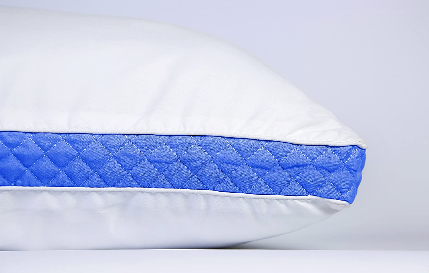 Set of 2 Premium Quality Bed Pillows for Side and Back Sleepers Queen, Blue Gussets Lux Decor Collection Gusseted Quilted Bed Pillow