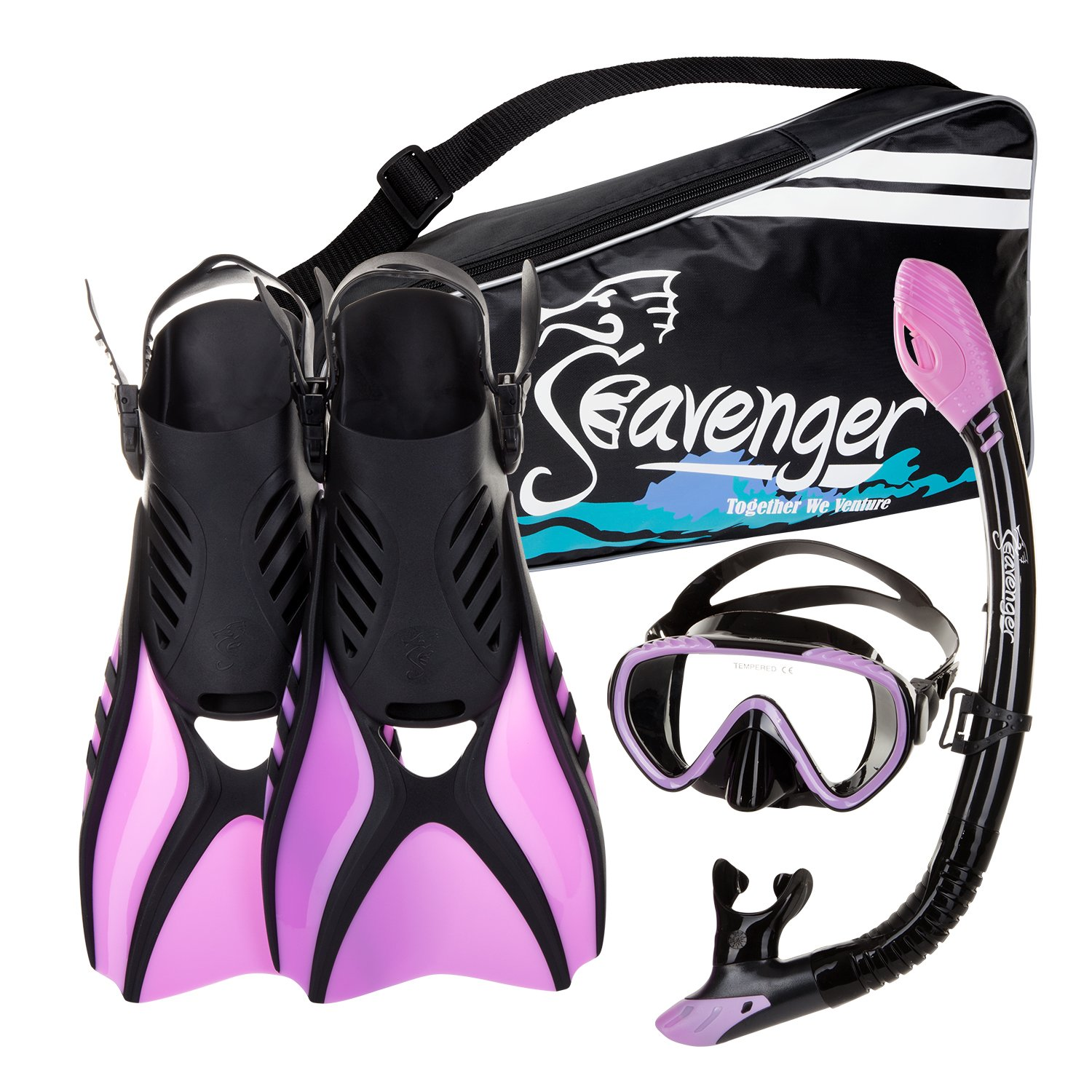 Seavenger Advanced Snorkeling Set with Panoramic Mask, Trek Fins, Dry Top Snorkel & Gear Bag (Black Silicone/Purple, X-Small)