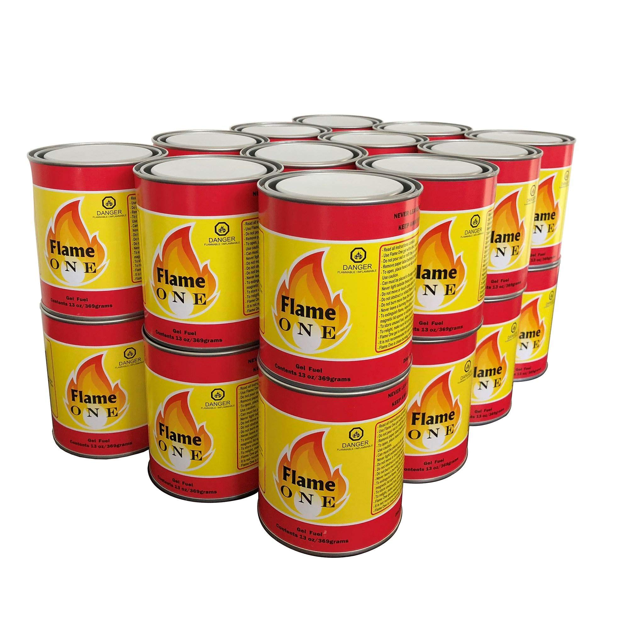 Flame One Indoor or Outdoor Premium Gel Fireplace Fuel in 13 Oz Cans (24 Pack) by Flame One