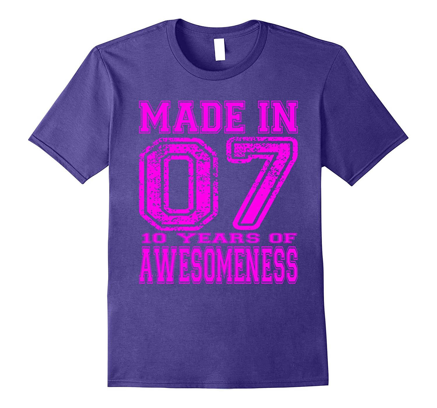10th Birthday Gift Tshirt Made In 07 10 Years of Awesomeness-PL