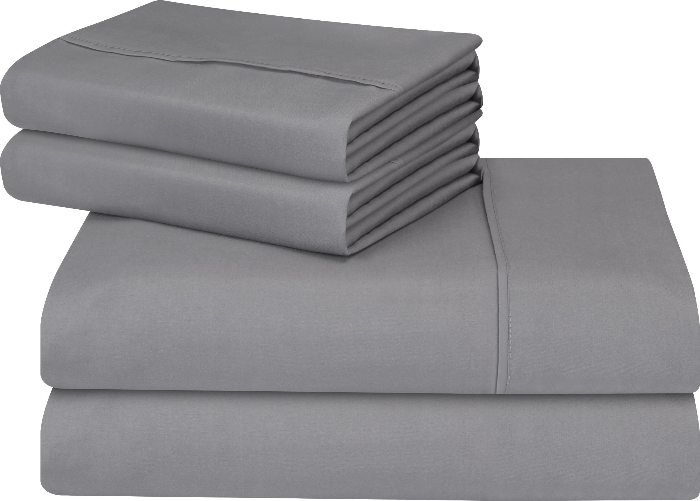 Premium 4 Piece Bed Sheet Set (Queen, Grey) 1 Flat Sheet 1 Fitted Sheet and 2 Pillow Cases - Brushed Velvety Microfiber - Luxurious and Extremely Durable