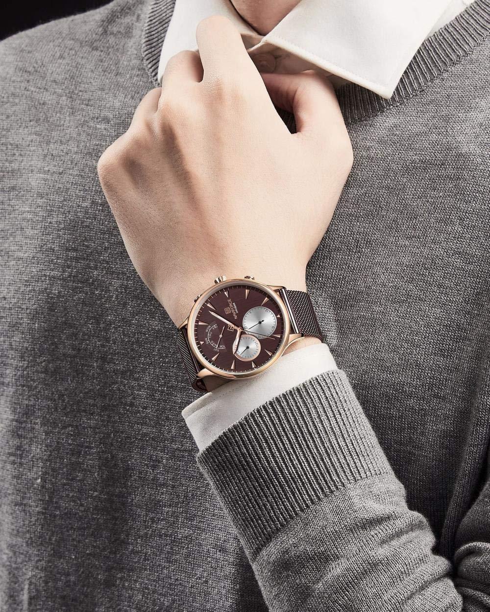 Herrklockor, mode nätrem ultratunn minimalistisk affärskvarts klocka a