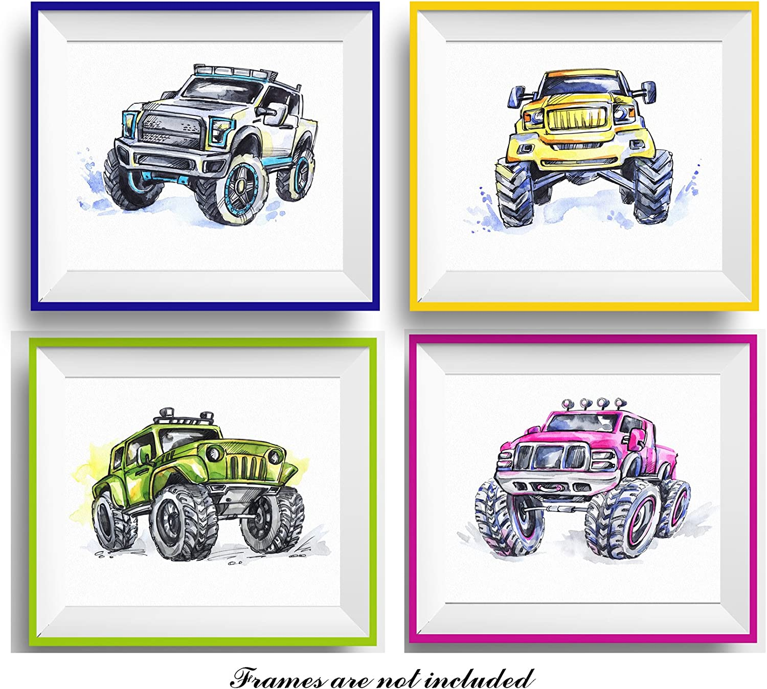 """7Dots Art. Set of 4 Monster trucks. Watercolor art print 8""""x10"""" on Fine Art thick Watercolor paper for childrens kids boy's room, bedroom. Wall art decor poster for boys with jeeps, cars. (z_Set of 4)"""