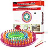 LAYOER Round Knitting Loom Set with Hook Needle Kit Yarn Cord Knitter 4 Hat Looms(Round)