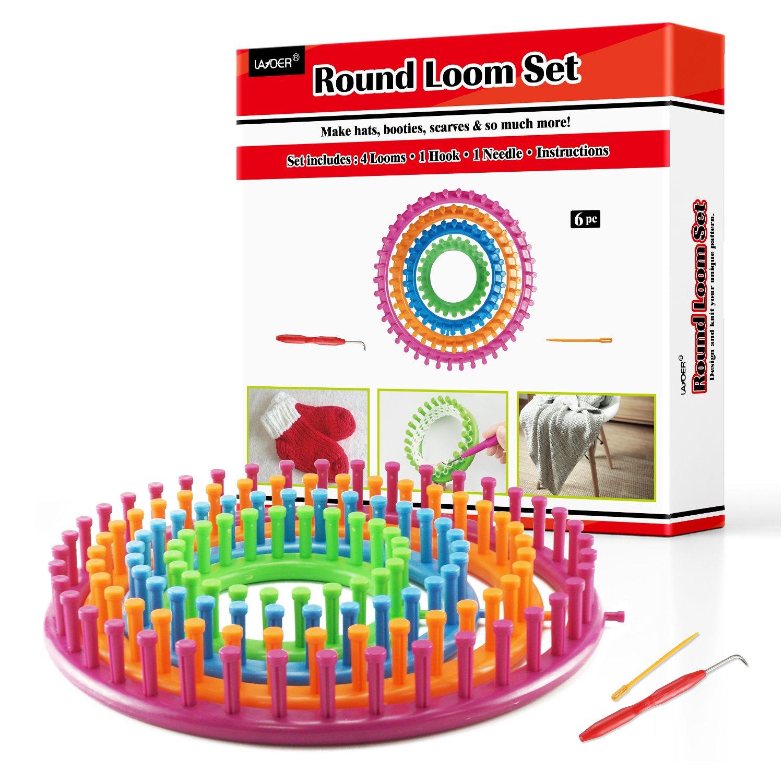 LAYOER Round Knitting Loom Set with Hook Needle Kit Yarn Cord Knitter 4 Hat Looms(Round)