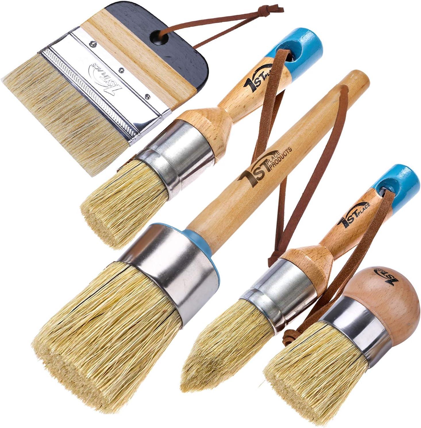 3 Brushes 2 Piece Brush Set /& 4 Flat Brush 1st Place Ultra Chalk /& Wax Natural Bristle Brush Set
