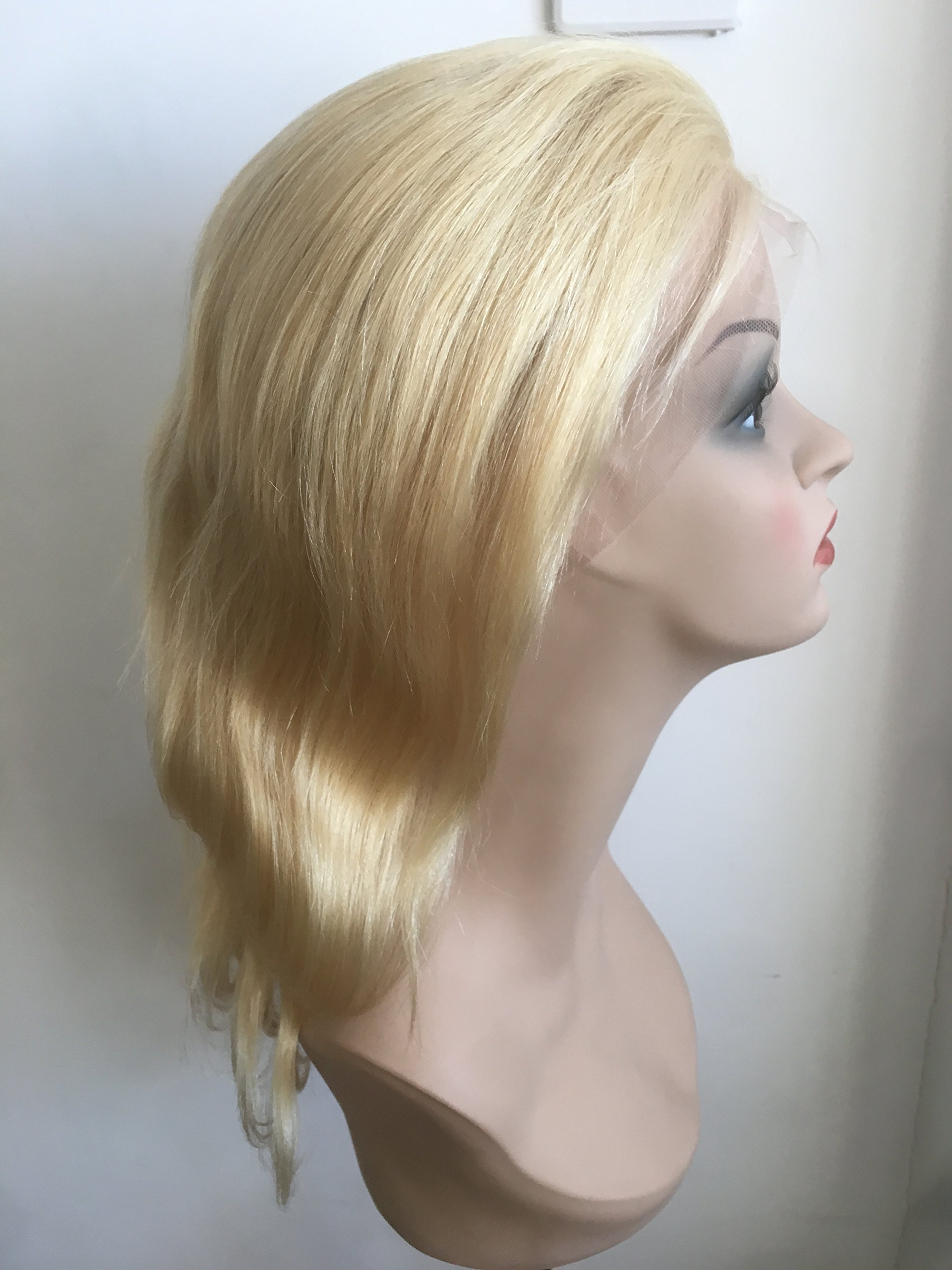 100%10A HUMAN HAIR CHINESE VIRGIN REMI FULL LACE WIG LADY WIG BLOND COLOR (12inch)