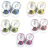 BRIM HUGS & CUDDLES Infants Multicolour Velour Booties - Pack of 5