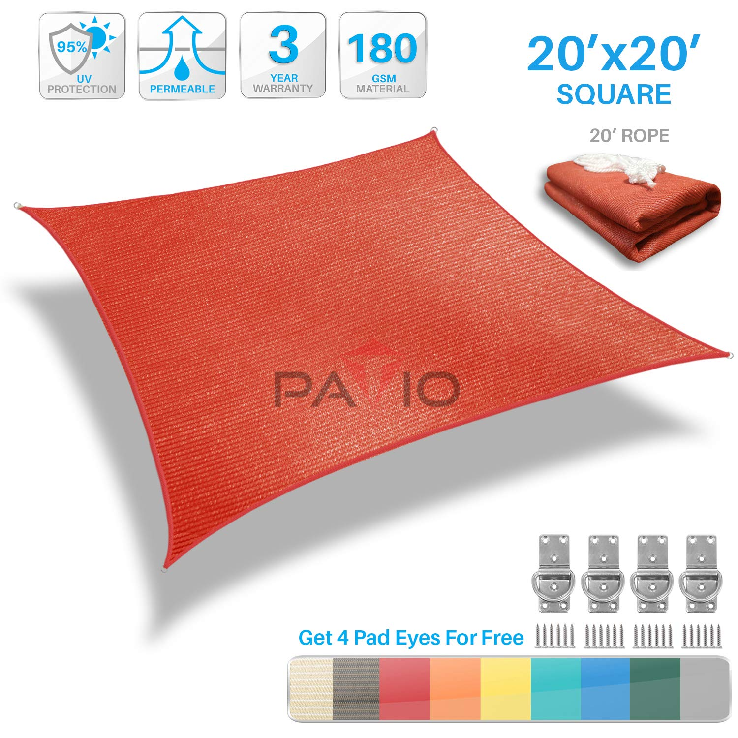Patio Paradise 20' x 20' Red Sun Shade Sail Square Canopy - Permeable UV Block Fabric Durable Outdoor - Customized Available