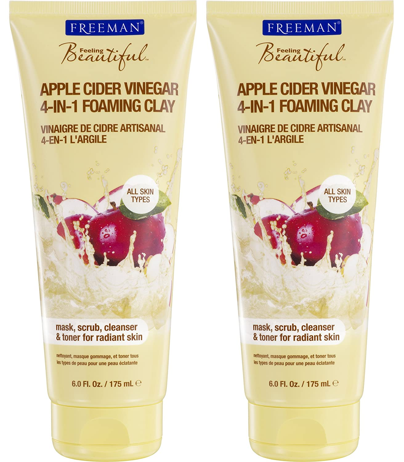 Freeman Feeling Beautiful Apple Cider Vinegar 4-in-1 Foaming Clay Mask and Scrub, 6-Ounce, 2 Count