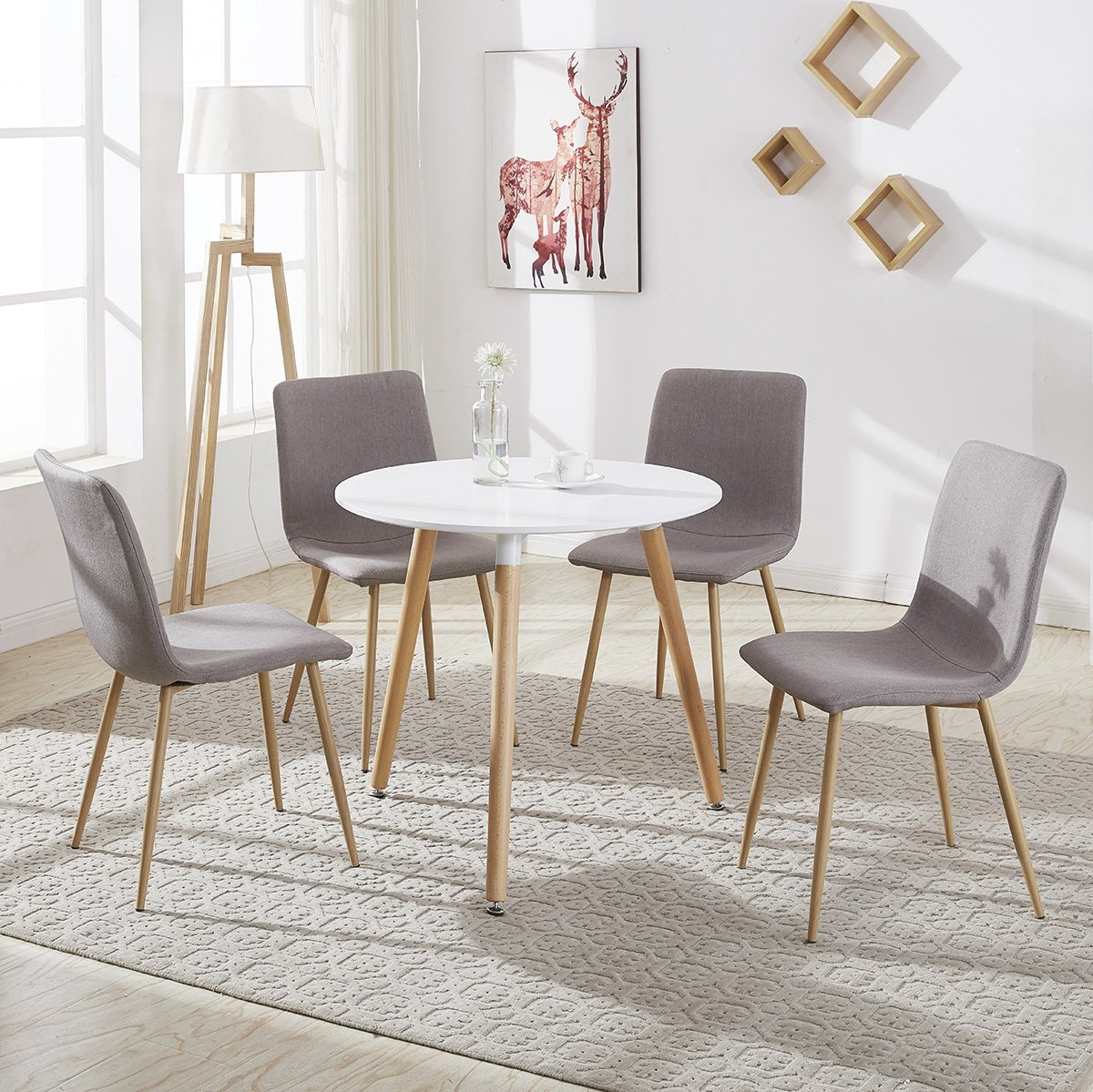 Round Dining Table and 4 Fabric Chairs with Shell Seat Solid&Comfortable, White, 80 x 75 cm, Seat Color Choice (Brown-2) GIZZA