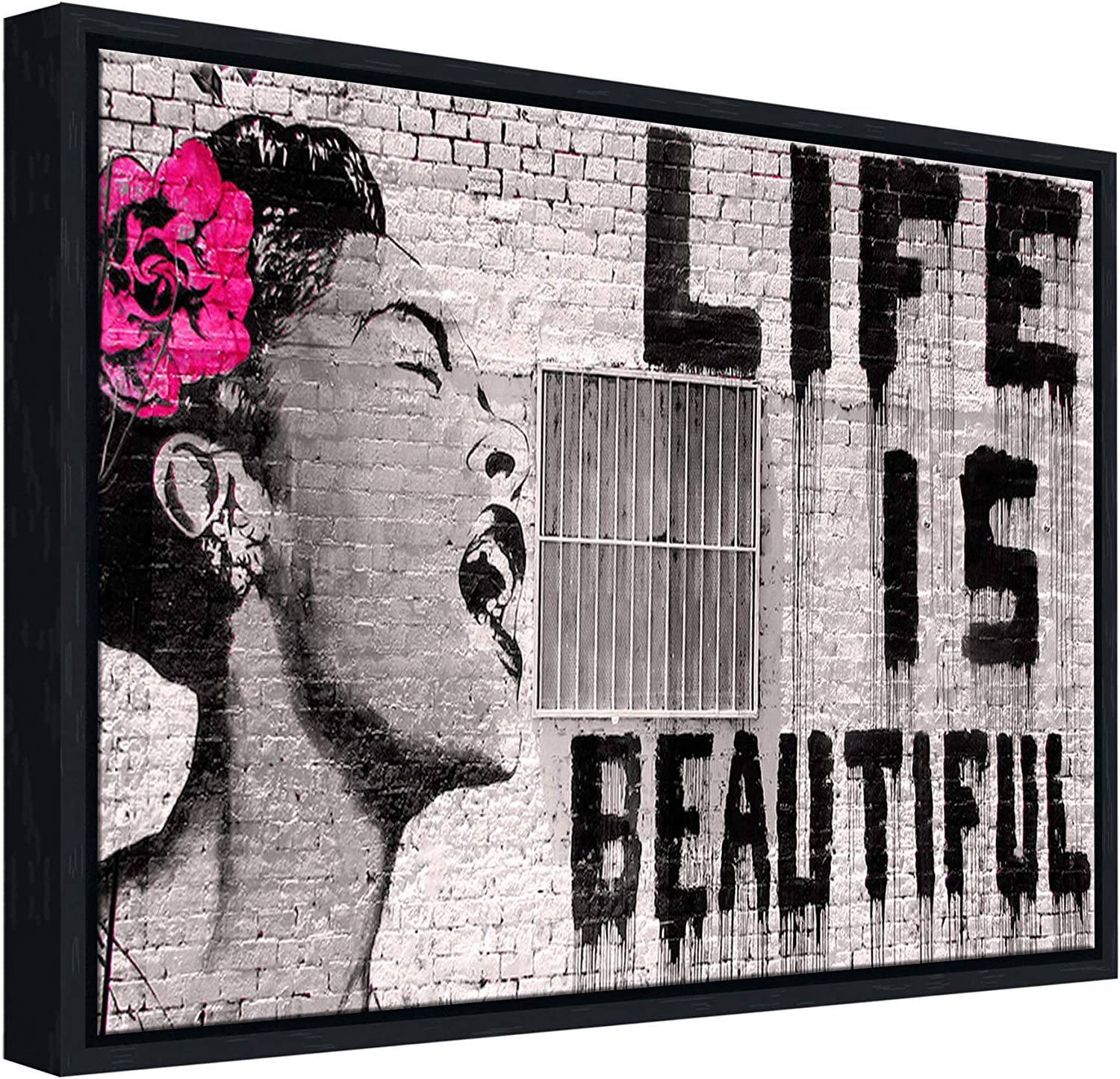 Amazon Com Wieco Art Framed Art Giclee Canvas Prints Of Banksy Life Is Beautiful Abstract Artwork For Wall Decor Black Frame Banksy 2 3040bf Posters Prints