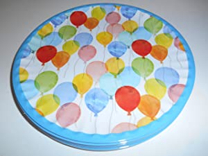 "Kensie Home Set of 6 Quality Melamine 8"" Salad Dessert Plates BALLOONS KIDS BIRTHDAY PARTY"