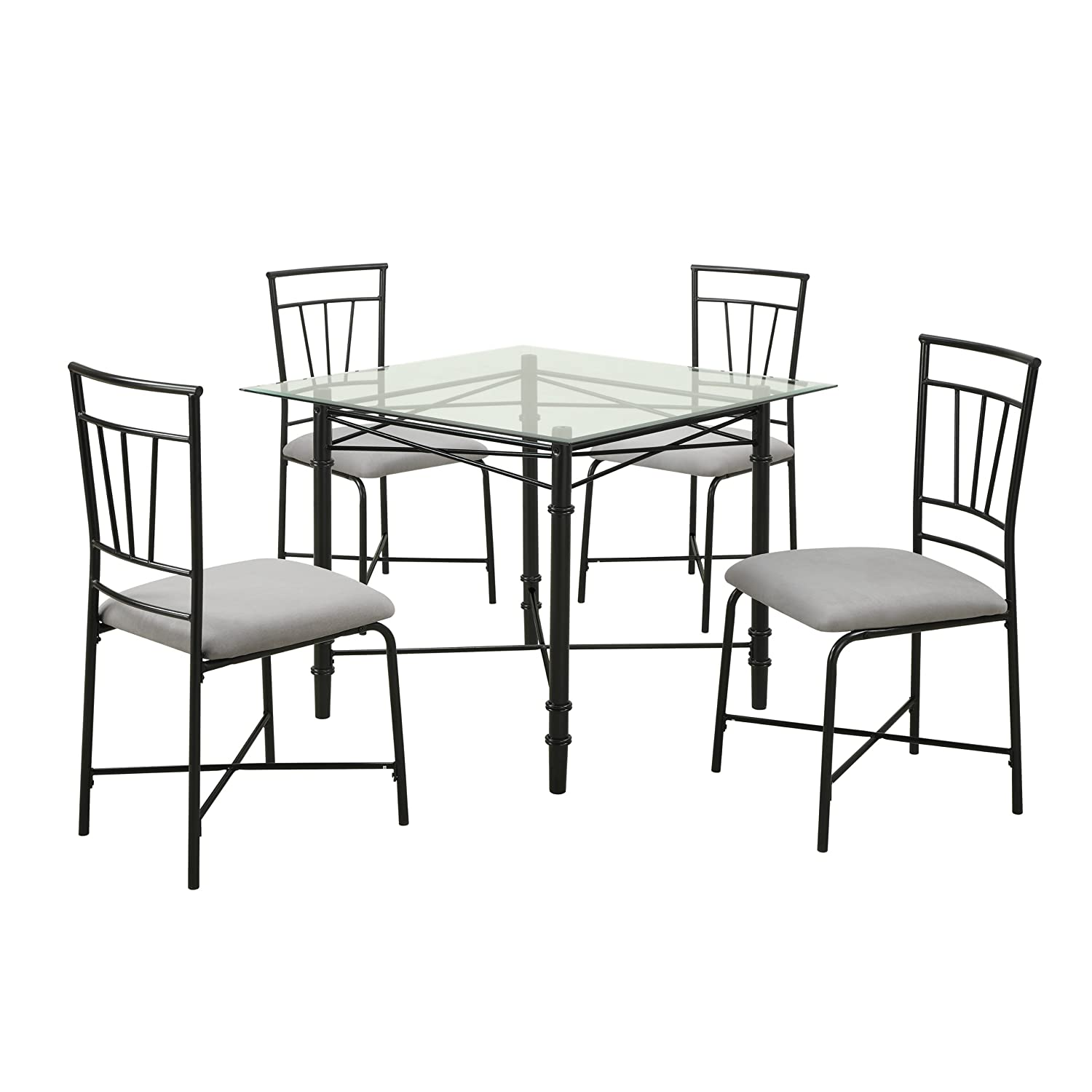 Amazon.com   Dorel Living 5 Piece Glass Top Metal Dining Set   Table U0026  Chair Sets
