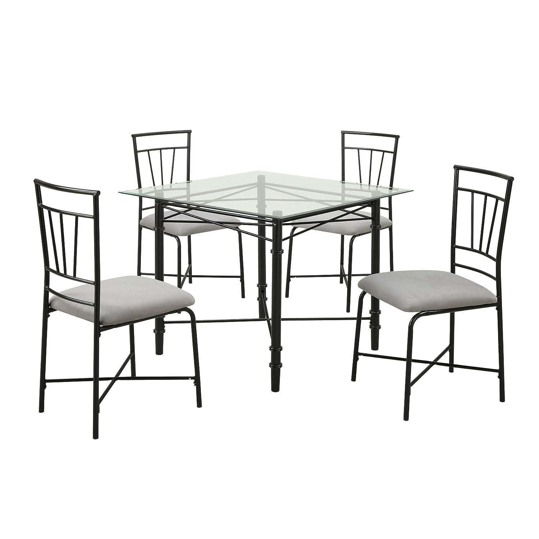 Amazon.com: Dorel Living 5 Piece Glass Top Metal Dining Set: Kitchen U0026  Dining