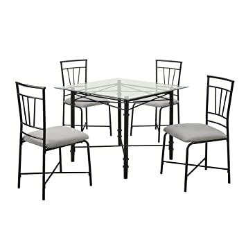 Dorel Living 5 Piece Glass Top Metal Dining Set