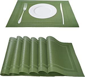 Onlyer Placemats Set of 6 Non-Slip Washable PVC Heat Resistant Table Mats Set, 18 x12 Inches Stain Resistant Coffee Mat Easy to Clean, Woven Vinyl Placemats for Kitchen Dining Table (Green)