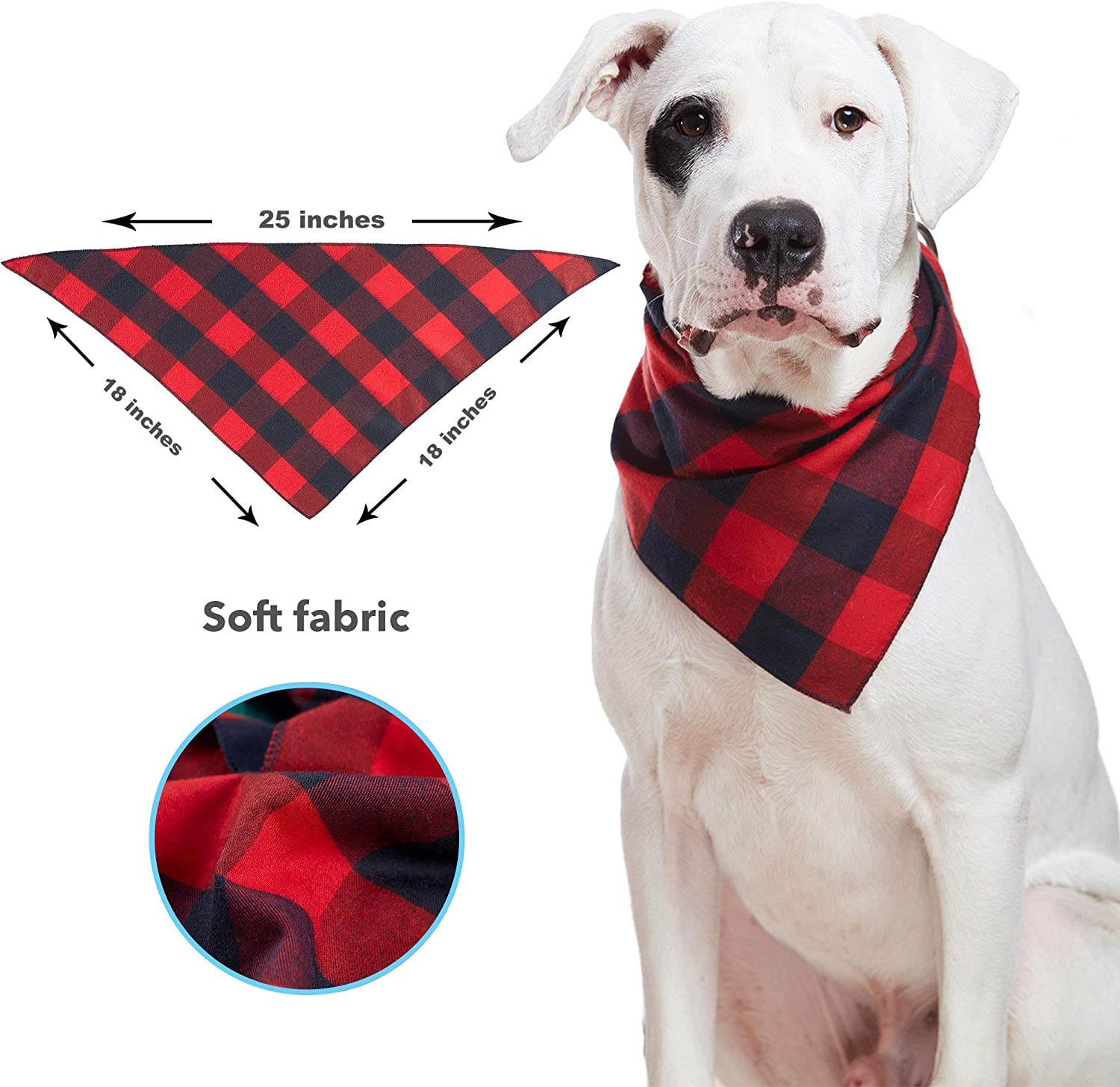 Odi Style Buffalo Plaid Dog Bandana 4 Pack - Cotton Bandanas Handkerchiefs Scarfs Triangle Bibs Accessories for Small Medium Large Dogs Puppies Pets, Black and White, Red, Green, Blue and Navy Blue : Pet Supplies