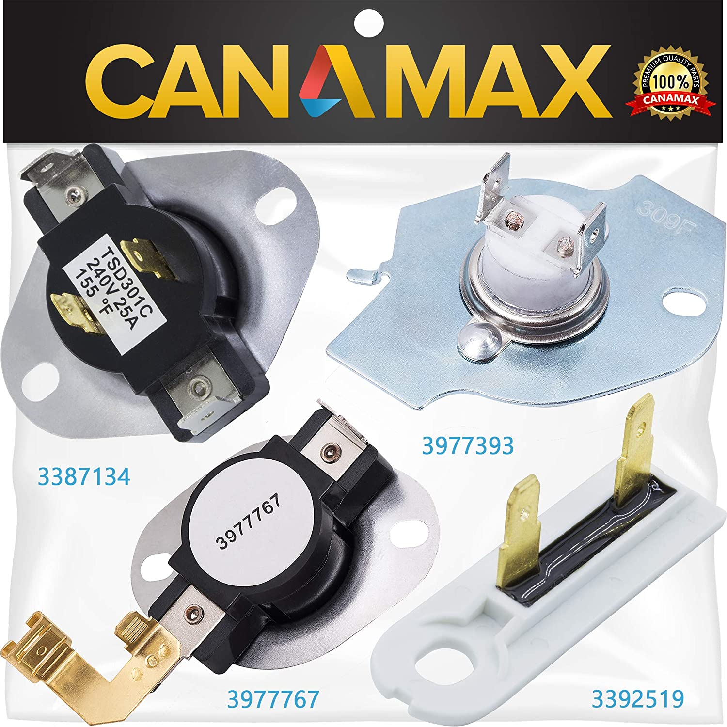 3977393 & 3977767 & 3392519 & 3387134 Dryer Thermal Fuse & High-Limit Thermostat COMPLETE Kit Premium Replacement by Canamax - Exact Fit with Whirlpool Kenmore Maytag Dryers