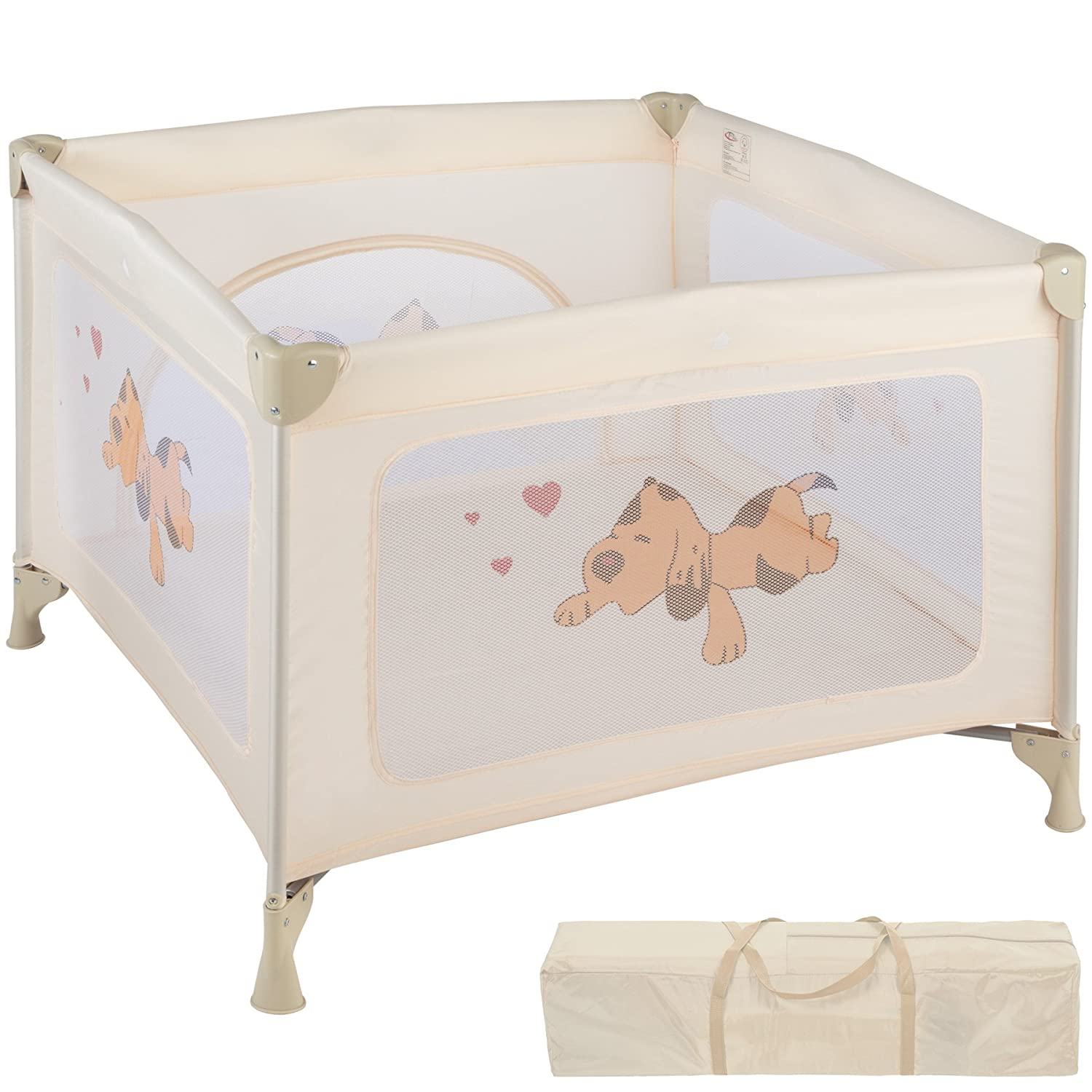 TecTake Portable Child Baby Infant Playpen Travel Cot Bed Crawl Play Area new beige 800343