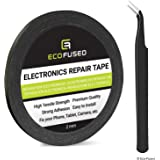 Eco-Fused Adhesive Sticker Tape for Use in Cell Phone Repair - 2mm Tape - also including 1 Pair of Tweezers / Eco-Fused Microfiber Cleaning Cloth (black)