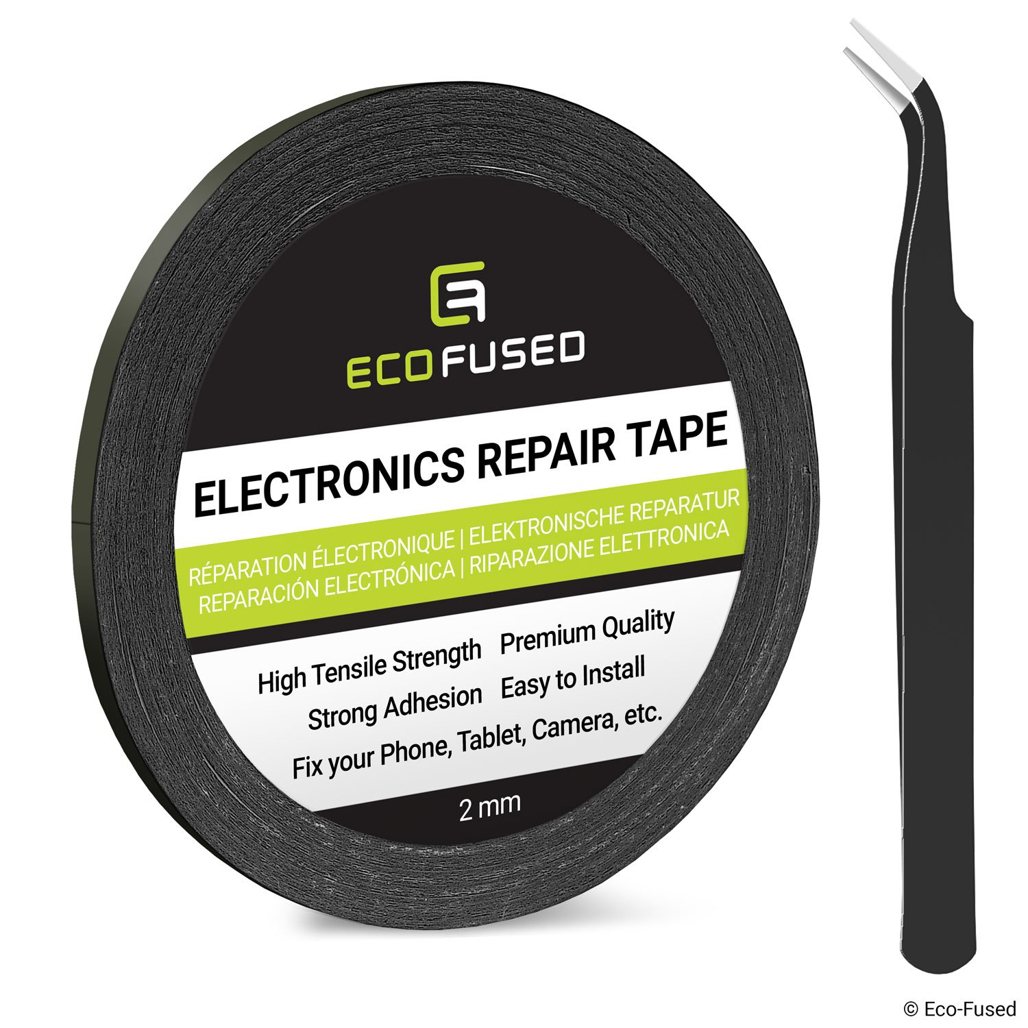 Eco-Fused Adhesive Sticker Tape for Use in Cell Phone Repair - 2mm Tape - also including 1 Pair of Tweezers/Eco-Fused Microfiber Cleaning Cloth (black)